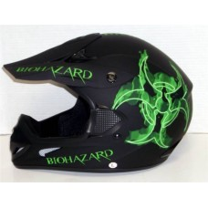 iV2 602 Motocross Supercross Off Road MX Dirt Bike Enduro Helmet DOT Matte Black Green Biohazard