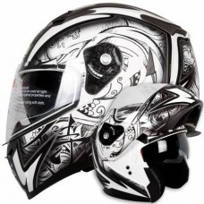 iV2 953 Modular Dual Visor Motorcycle Helmet DOT Demon Samurai Tribal White Black