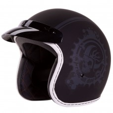 iV2 3/4 Motorcycle Helmet DOT Low Profile Retro Old School Vintage Ride All Day Black Matte