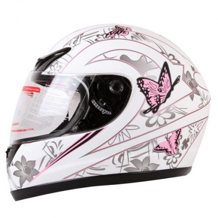 iV2 901 Women's Motorcycle Helmet DOT Full Face White Pink Butterfly