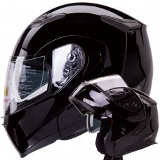 iV2 953 Modular Dual Visor Motorcycle Helmet DOT Gloss Black Flip Up Face DOT