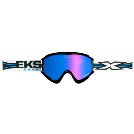 EKS X Limited Edition Motocross Supercross Off Road MX Dirt Bike Enduro Goggles - White, Black, Blue Lens