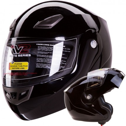 iV2 936 Modular Motorcycle Helmet DOT Gloss Black, Matte Black, Red