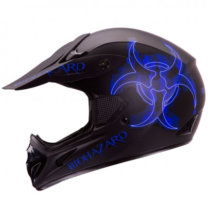 iV2 602 Motocross Supercross Off Road MX Dirt Bike Enduro Helmet DOT Matte Black Blue Biohazard