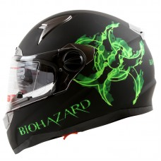 iV2 Full Face Dual Visor Motorcycle Helmet DOT Biohazard Matte Black Green