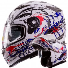 iV2 Modular Dual Visor Motorcycle Helmet DOT Bloodsport Red White Blue
